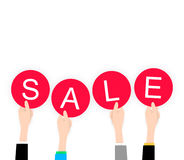 White flat Hands holding sale lable black friday Stock Photos