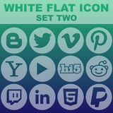 White Flat Icon Set Two Vector Image. Flat icon icons design vector shadow sponsorship human long web rights circle symbol set graphic white heart business Stock Images