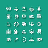 White flat icons set. Business object, office tools. Stock Photos