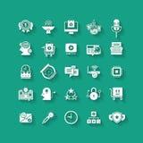 White flat icons set. Business object, office tools. White flat icons set with long shadows. Business object, office tools. Marketing, social, creative stuff stock illustration