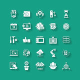 White flat icons set. Business object, office tools. Stock Photo