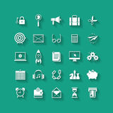 White flat icons set. Business object, office tools. Royalty Free Stock Image