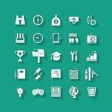 White flat icons set. Business object, office tools. White flat icons set with long shadows. Business object, office tools. Marketing, social, creative stuff vector illustration