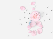 White Flat lay. Top view. March 8th. International Woman`s day. Pibackground. White vase, white bag, red roses on white background royalty free stock photos