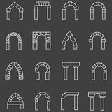 White flat line icons for archway Stock Image
