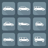 White flat style various body types of cars icons collection. Vector white flat design body types cars classification icons set sedan saloon hatchback station Stock Illustration