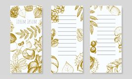 White flayers with autumn golden leaves and fruits. Set of autumnal vertical backgrounds for your design Stock Image