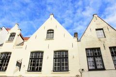 White Flemish houses Bruges Belgium Royalty Free Stock Image