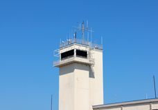 White Flight line Radar Communications Tower Royalty Free Stock Image