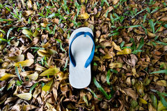 White flip flop. On street royalty free stock photos