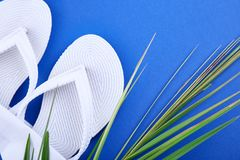 White Flip flops and palm leaves. Summer concept. White Flip flops and palm leaves on blue paper background. Flat lay. Copy space royalty free stock images