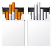 White flip-top hard cigarette packs without title Royalty Free Stock Photography