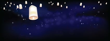 White Floating lanterns in dark night ceremony Thailand. Thai people believed that misfortune will fly away with the lanterns, and they like done all festival Royalty Free Stock Image