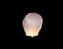 White floating sky lantern Royalty Free Stock Photography