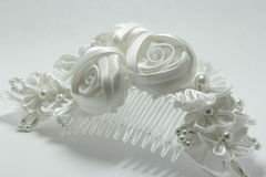 White Floral Bridal Hair Comb Royalty Free Stock Image