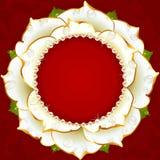 White Floral Circle Frame Stock Photo