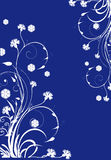 White floral curles on blue background. Illustration with white floral curles on blue background stock illustration