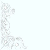 White floral doodles on light blue background Stock Photos