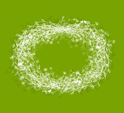 White floral frame on green background. With place for your text Stock Photos