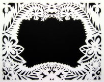 White floral frame. Paper cutting. Royalty Free Stock Images