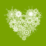 White floral heart shape for your design Royalty Free Stock Images