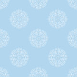 White floral motif on pale blue background. Repeating pattern ornament. Vector Stock Image