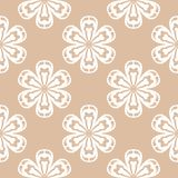 White floral seamless pattern on beige background Stock Image