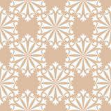 White floral seamless pattern on beige background. White floral ornament on beige background. Seamless pattern for textile and wallpapers Royalty Free Stock Photography