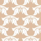 White floral seamless pattern on beige background. White floral ornament on beige background. Seamless pattern for textile and wallpapers Stock Photos