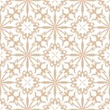 White floral pattern on beige seamless background Stock Photos