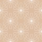 White floral pattern on beige seamless background. White floral ornament on beige seamless background. Seamless pattern for textile and wallpapers Stock Images