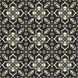 White floral pattern on black background Royalty Free Stock Photo