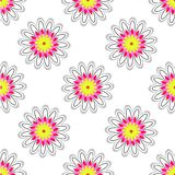 White Floral Pattern. Repeating bright flowers on the white background. Vector illustration Royalty Free Stock Images