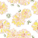 White floral pattern with yellow dahlia. stock illustration