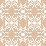 White floral seamless design on beige background. White floral ornamental design on beige background. Seamless pattern for textile and wallpapers Stock Photos