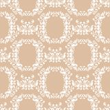 White floral seamless pattern on beige background. White floral ornament on beige background. Seamless pattern for textile and wallpapers Royalty Free Stock Image