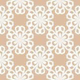 White floral seamless pattern on beige background Royalty Free Stock Images