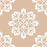 White floral seamless pattern on beige background Royalty Free Stock Photos