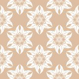 White floral seamless pattern on beige background. White floral ornament on beige background. Seamless pattern for textile and wallpapers Stock Photography