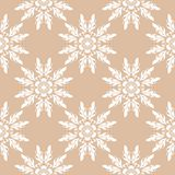 White floral seamless pattern on beige background. White floral ornament on beige background. Seamless pattern for textile and wallpapers Royalty Free Stock Images