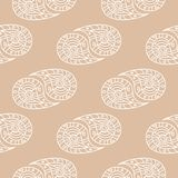 White floral seamless pattern on beige background. White floral ornament on beige background. Seamless pattern for textile and wallpapers Stock Photo