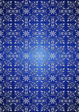 White floral seamless pattern on blue gradient background Stock Photos