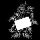White floral sketch on a black background Stock Photos