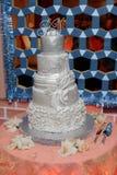 white floral wedding cake restaurant interior background Royalty Free Stock Images
