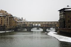 Florence ,italy under the snow. White Florence with snow, dome,ponte vecchio Stock Photo