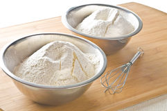 White flour in bowl Royalty Free Stock Photo