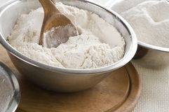 White flour in bowl Stock Photo