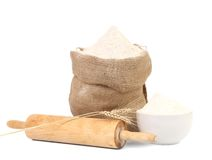 White flour and rolling pin. Royalty Free Stock Images