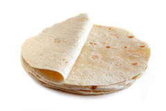 White flour tortillas isolated on white. White wheat flour tortillas isolated on white background Stock Images