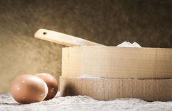 White flour and two eggs Royalty Free Stock Photography